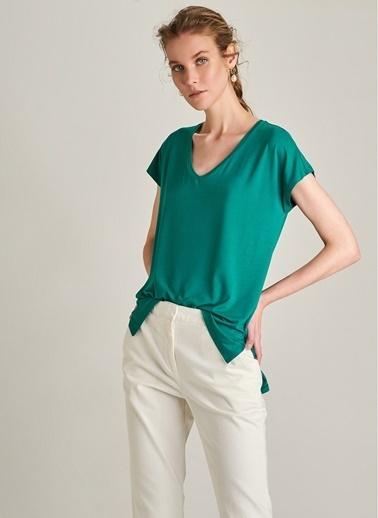NGSTYLE V Yaka Basic Tişört Yeşil